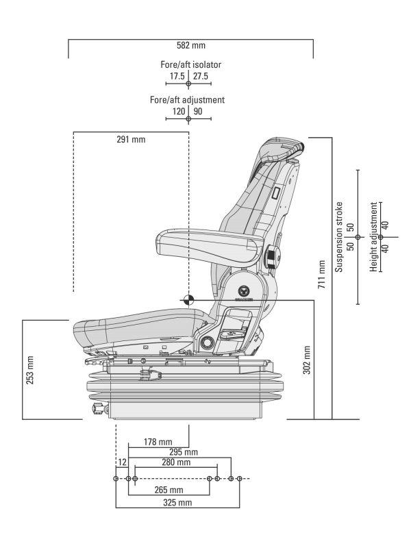 Msg85  721 Forklift Seat Black Pvc