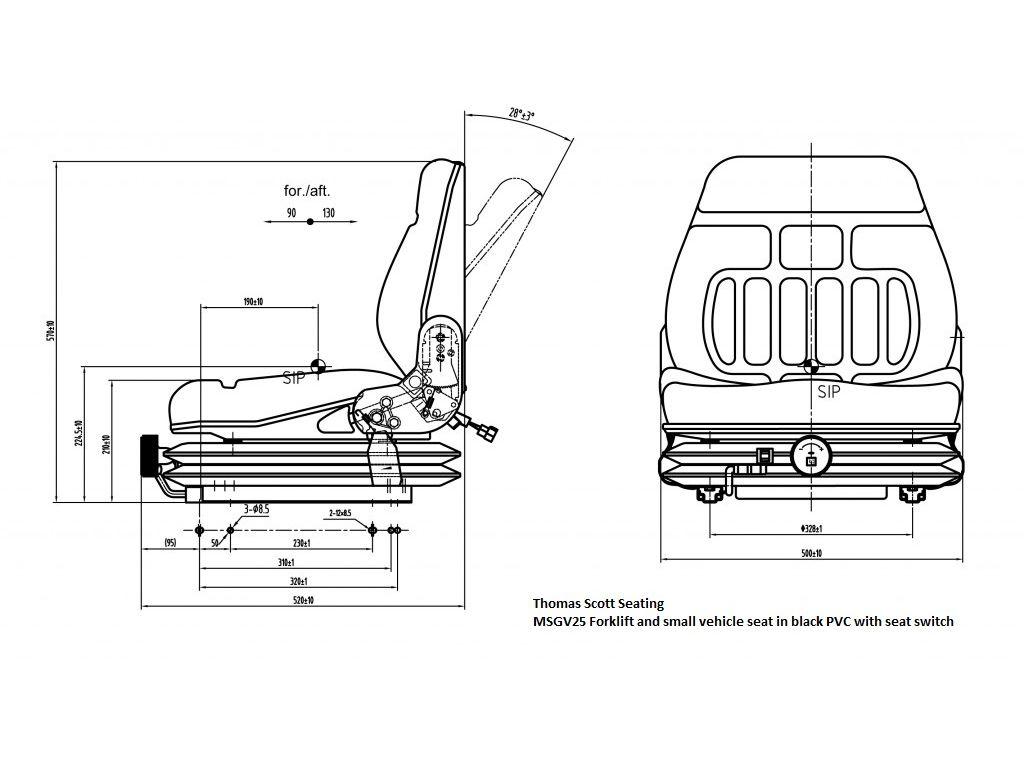 mgv25 forklift seat in black pvc