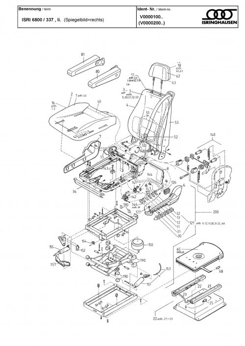 ISRI seat parts spares for all 6860  6800  6500 seats - Buy
