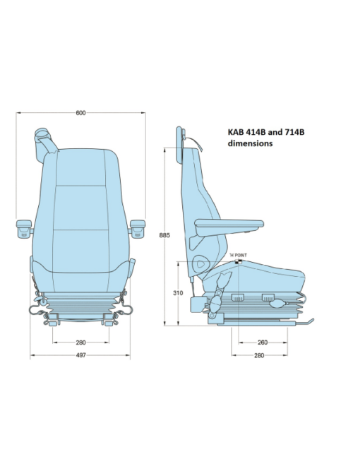 KAB-414B-seat-mechanical-with-integral-3-point-belt-dimensions